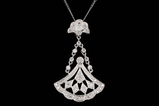 Modern 14K White Gold .35 Total Carat Weight Round Diamonds Drop Pendant Necklace