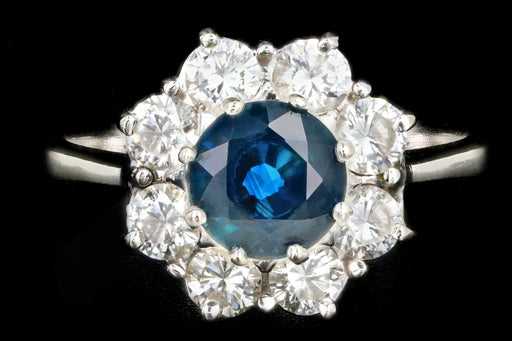 Modern 18K White Gold Natural Sapphire and Diamond Halo Ring - Queen May