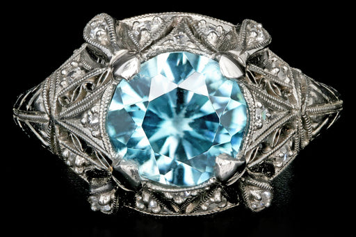 Art Deco Platinum 2.1CT Blue Zircon and Diamond Ring - Queen May