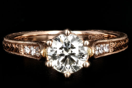 14K Rose Gold .89 Carat Diamond Engagement Ring - Queen May