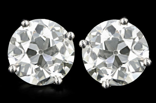 New 14K White Gold 9.33 Carats Round Brilliant Diamond Studs - Queen May