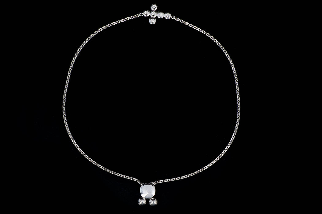 New 14K White Gold Diamond Cross Bolo Bracelet - Queen May