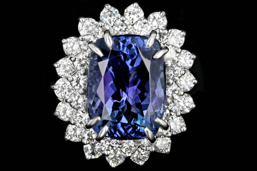 Modern Platinum 9.51 Tanzanite and Diamond Halo Ring - Queen May