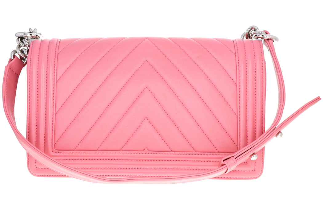 Chanel Pink Chevron Quilted Lambskin Medium Boy Bag - Queen May