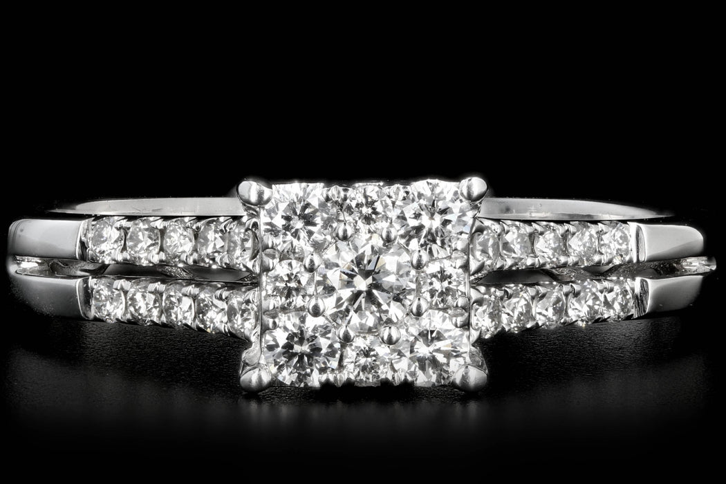 Modern 14K .5 Carat Diamond Cluster Engagement Ring - Queen May