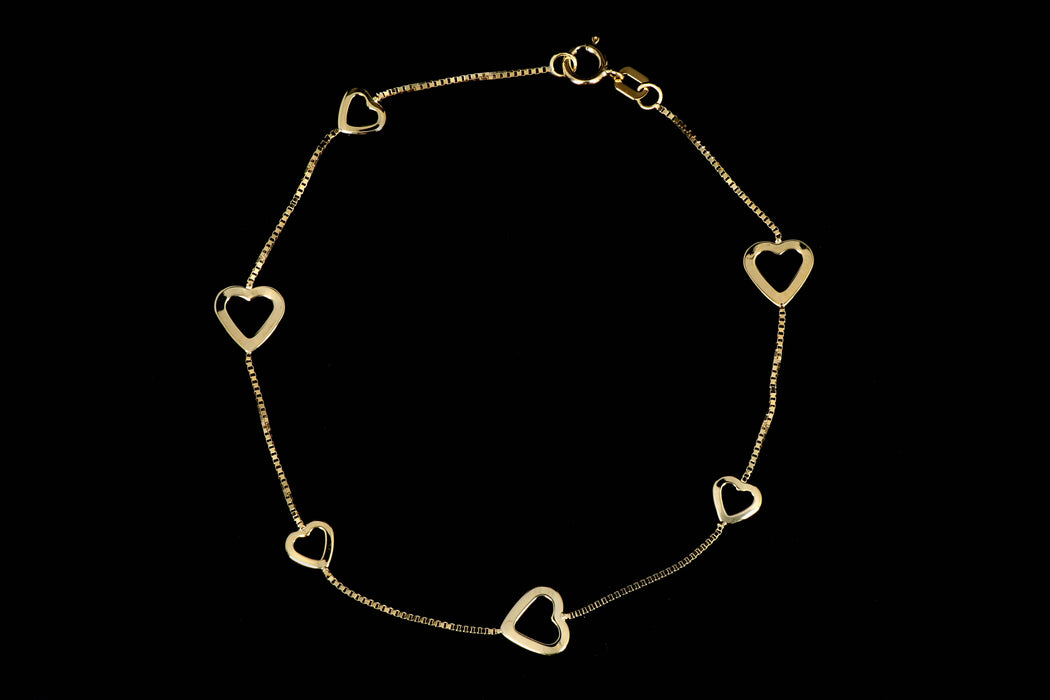 New 14K Yellow Gold Heart Station Bracelet - Queen May