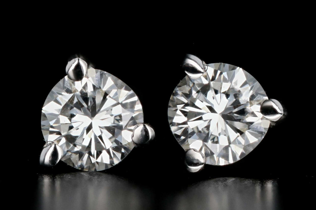 New 14K White Gold .30 CTW Round Brilliant Cut Diamond Stud Earrings - Queen May