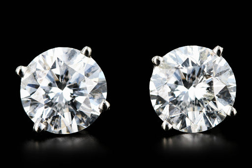Modern 14K White Gold 2.6CTW Brilliant Round Diamond Studs - Queen May