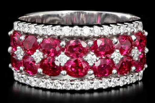 Modern Gregg Ruth 18K White Gold 2.99 CTW Ruby and Diamond Ring