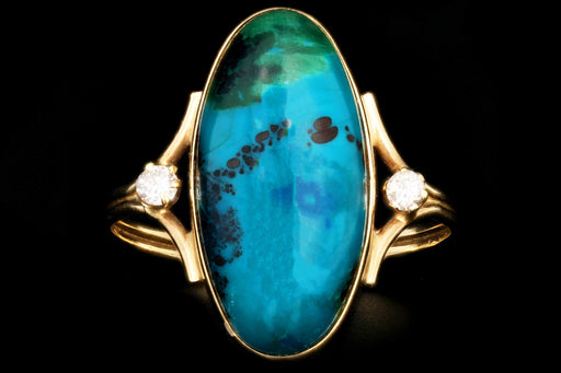 Vintage 14K Yellow Gold Chrysocolla and Diamond Ring - Queen May