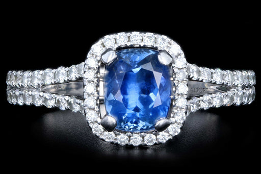 Modern 18K White Gold 1.25 Natural Sapphire and Diamond Halo Ring - Queen May