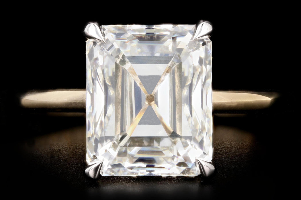 New Platinum and 14K Yellow Gold 4.30 Emerald Cut Diamond Engagement Ring GIA Certified - Queen May
