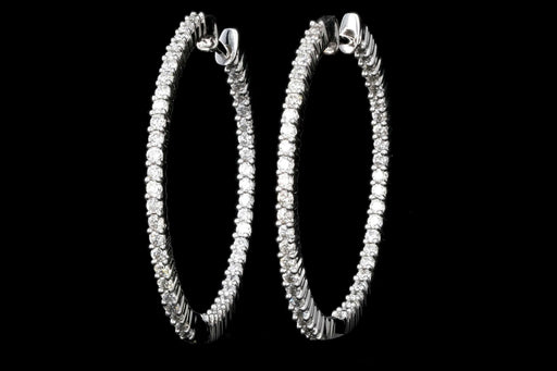 Modern 18K White Gold 1.5 Carat Diamond Inside/ Outside Hoops - Queen May