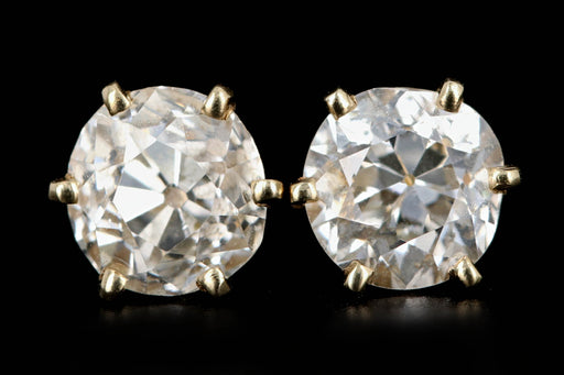Vintage 14K Yellow Gold 1 CTW Old Mine Cut Diamond Studs - Queen May