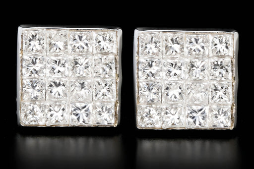 New 18K 1 Carat Princess Cut Cluster Diamond Earrings - Queen May