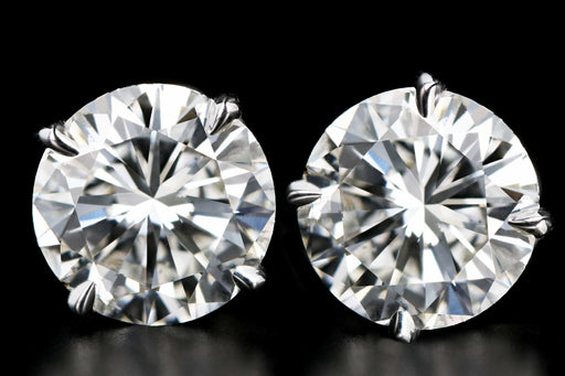 New 14K White Gold 4.01 CTW Round Brilliant Cut Diamond Stud Earrings - Queen May