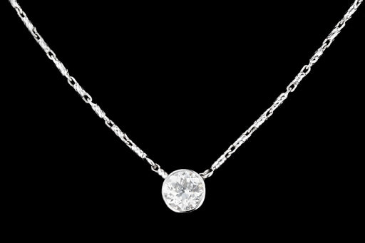 Modern 14K White Gold .6 CT Old European Cut Diamond Pendant - Queen May