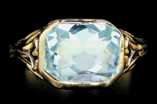 Art Deco 14K 3.2 Carat Aquamarine Ring - Queen May