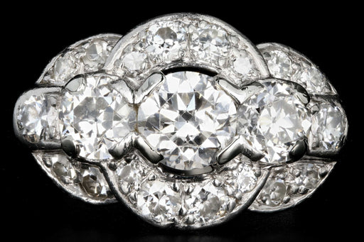Art Deco Platinum 2.1 Carat Total Weight Old European Cut Diamond Ring - Queen May
