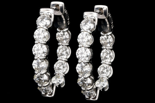 New 14K White Gold 5 CTW Round Diamond In and Out Hoop Earrings - Queen May