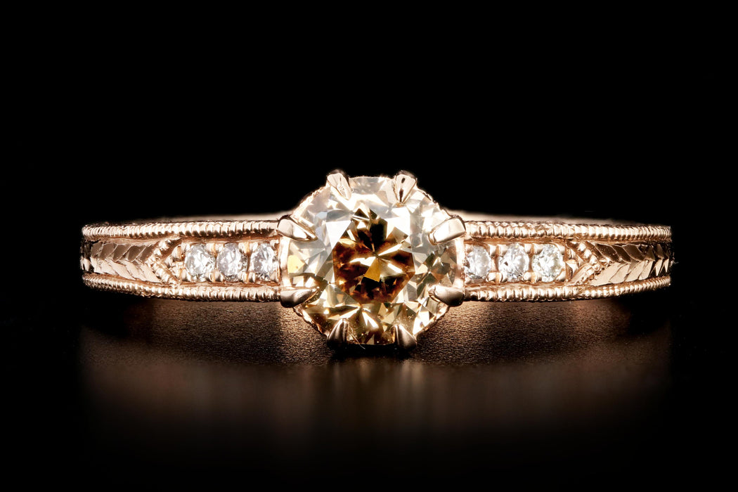 14K Rose Gold .66 Carat Champagne Diamond Ring - Queen May