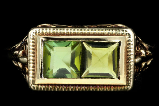 Art Deco 14K Yellow Gold .75CTW Green Tourmaline Ring - Queen May