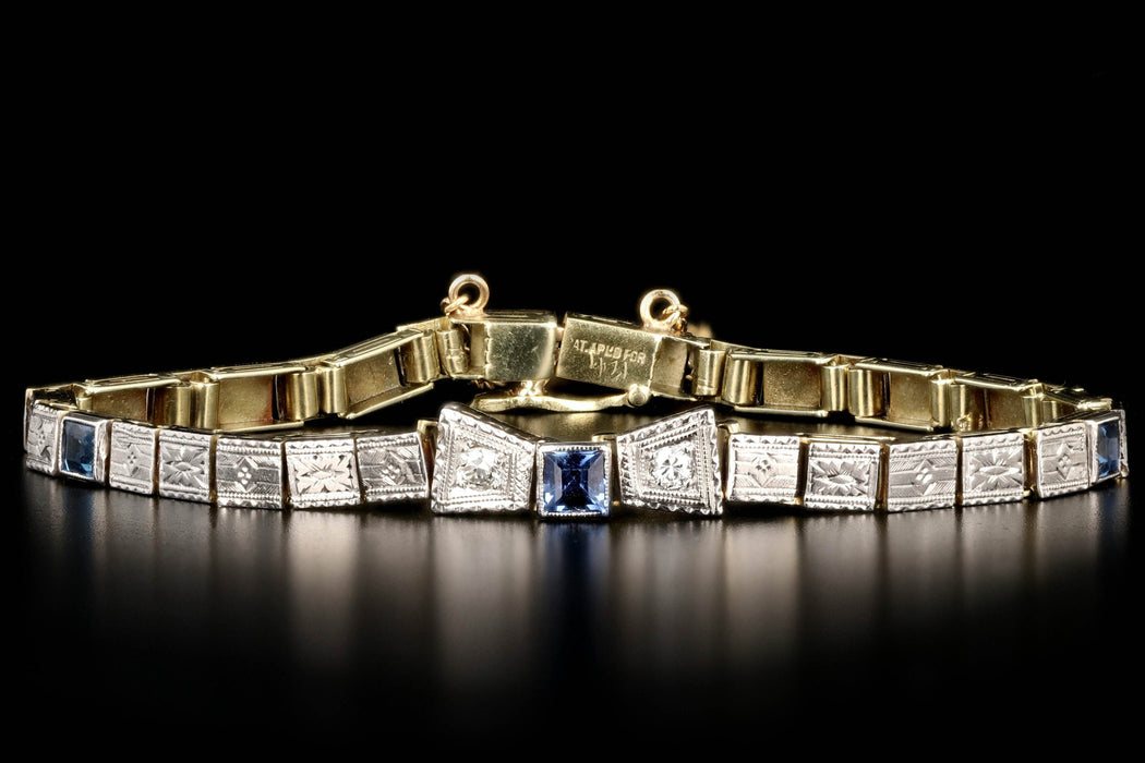 Art Deco 18K White & Yellow Gold Yogo Bracelet - Queen May