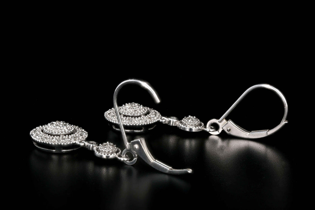 Modern 14K White Gold .50 Carats Total Weight Single Cut Diamond Drop Earrings - Queen May