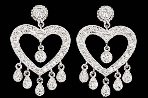 Modern 18K White Gold .50 Carats Total Weight Round Diamond Heart Earrings