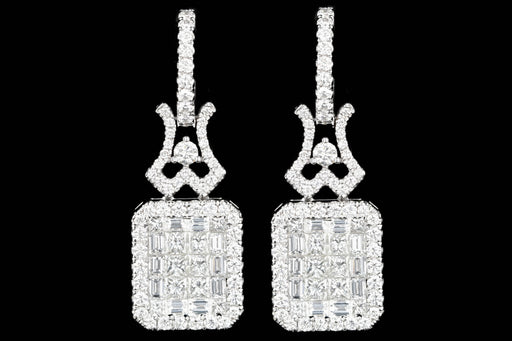 New 18K White Gold 4.44 Carats Princess, Baguette, and Round Cut Diamond Earrings - Queen May