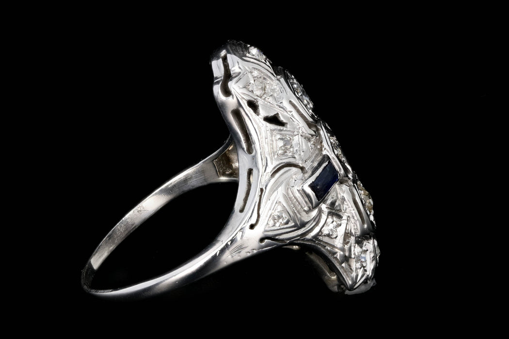 Art Deco 18k White Gold .20 Carat Old European Cut Diamond and Sapphire Shield Style Ring - Queen May