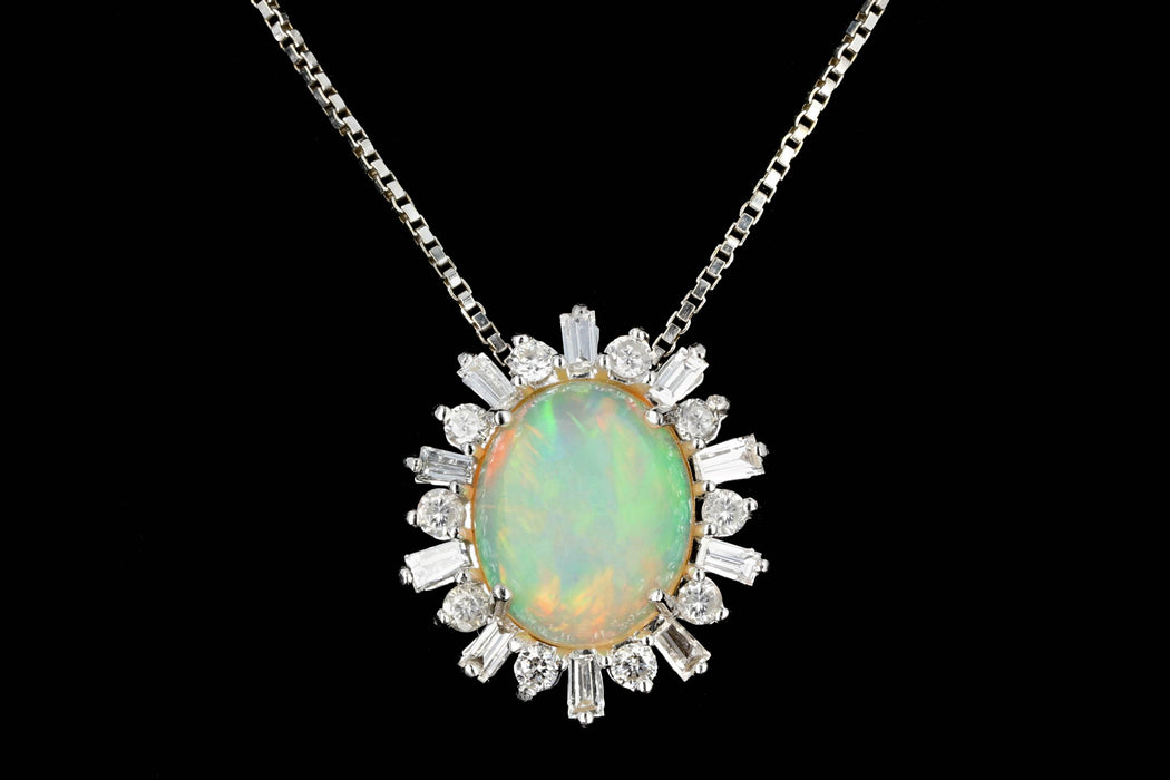 Modern 14K White Gold Opal Diamond Pendant Necklace - Queen May