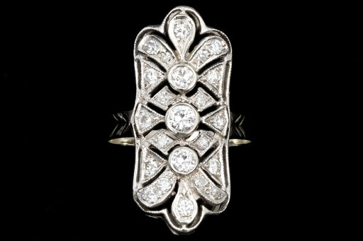 Art Deco 14K White Gold 1CTW Diamond Shield Ring - Queen May