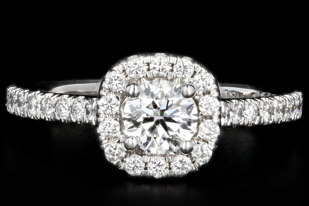 Modern 18K White Gold .40 Carat Round Brilliant Cut Diamond Halo Engagement Ring - Queen May
