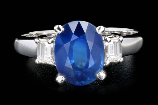 Retro Platinum 2.15 Carat Thailand Natural Royal Blue Sapphire and Diamond Ring - Queen May