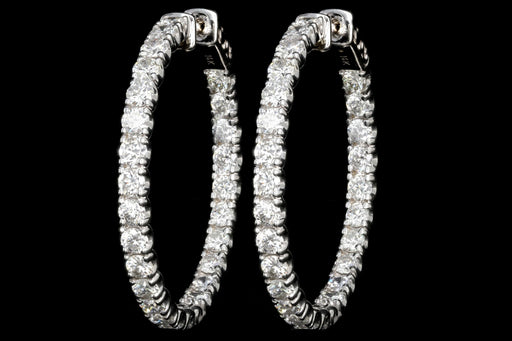 Modern 14K White Gold 5.2CTW Diamond In and Out Hoop Earrings - Queen May