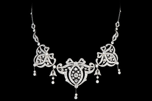Edwardian Platinum 14.15 Carat Old Cut Diamond Necklace - Queen May