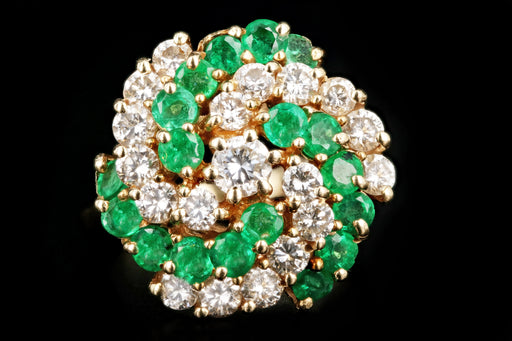 14K Yellow Gold 1.5 Carat Emerald and Diamond Ring - Queen May