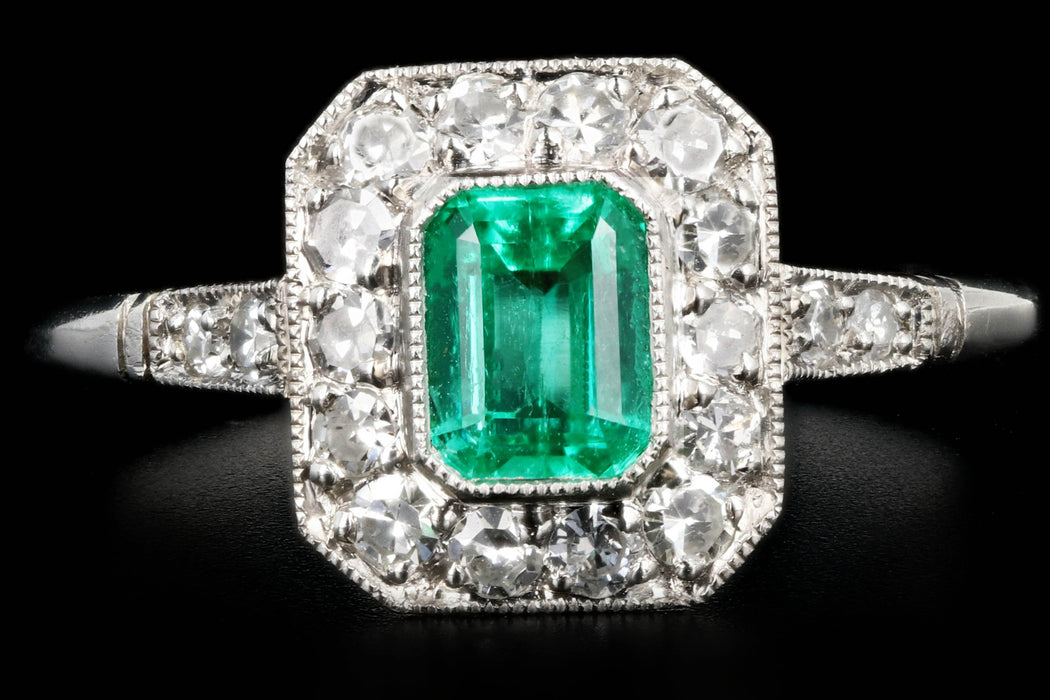 Art Deco Style Platinum .60 Colombian Emerald & Diamond Ring - Queen May