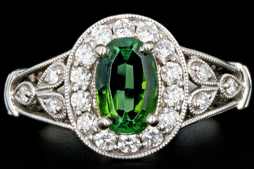 Modern 14K White Gold 1.20CT Green Tourmaline and Diamond Ring - Queen May