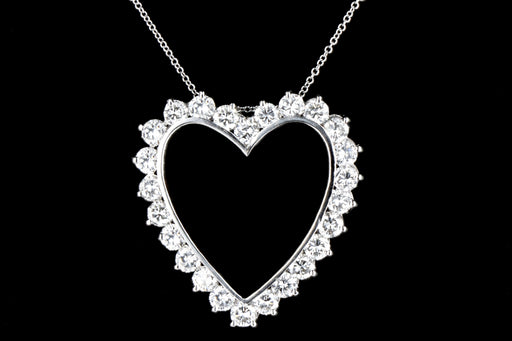 Modern Platinum 6.25CTW Diamond Heart Pendant With 18K Chain - Queen May