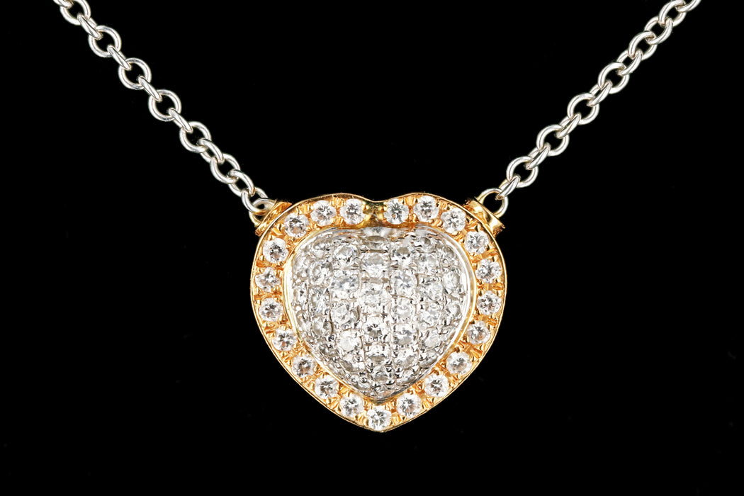 Modern 18K White and Yellow Gold .75CTW Diamond Heart Pendant - Queen May