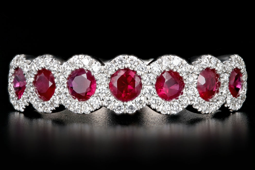 New 14K White Gold Natural Ruby, Sapphire or Emerald and Diamond Bands - Queen May
