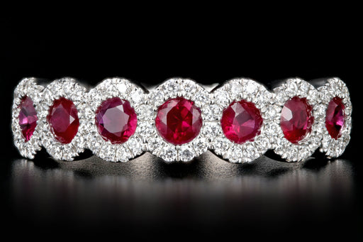 14K White Gold Natural Ruby, Sapphire or Emerald and Diamond Bands - Queen May