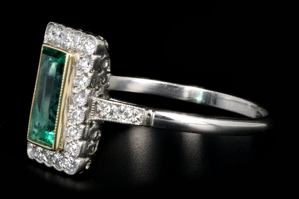 Art Deco Style Platinum .79 Carat Colombian Emerald & Diamond Ring - Queen May
