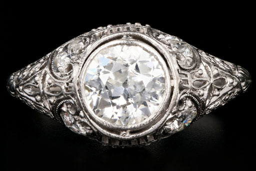Art Deco Platinum .97 Carat Old European Cut Diamond Engagement Ring - Queen May