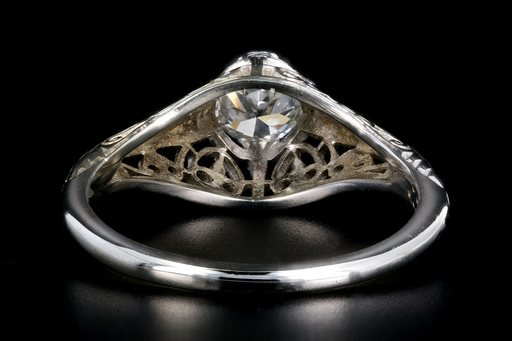 Art Deco Belias 18K White Gold Diamond Filigree Engagement Ring - Queen May