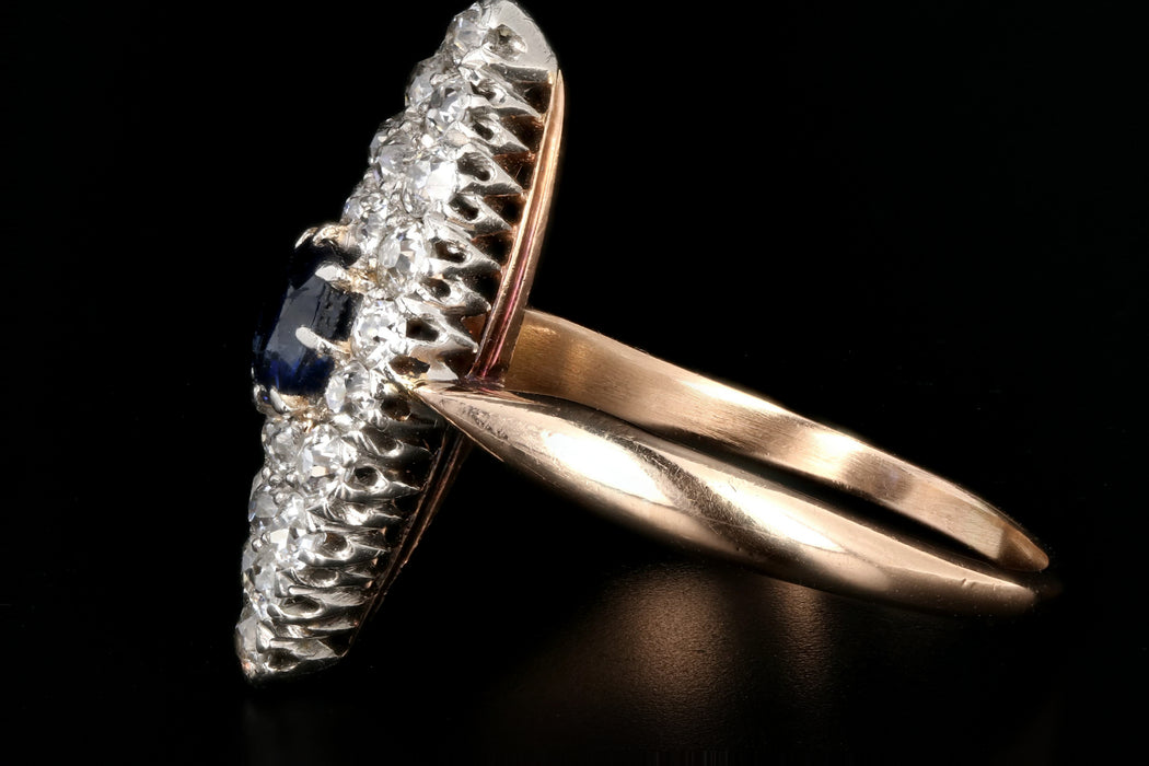 Edwardian 14K Rose Gold and Platinum Sapphire and Diamond Navette Ring - Queen May