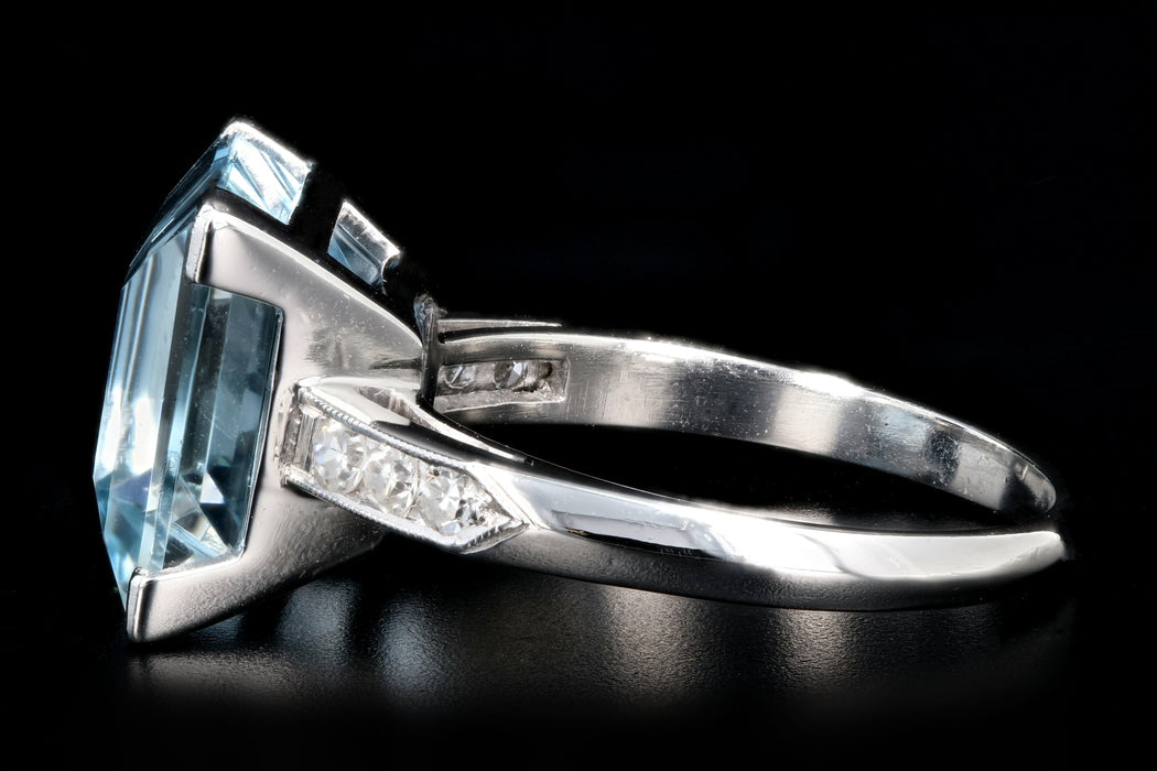 Retro Platinum 5 Carat Aquamarine and Diamond Ring - Queen May