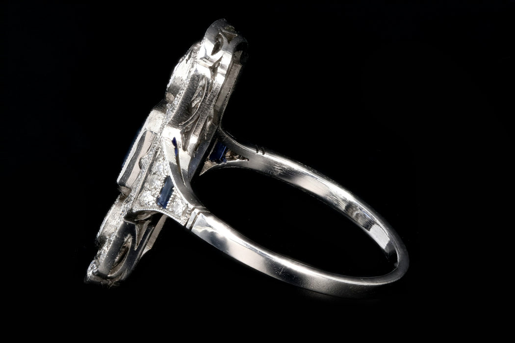 Art Deco Style Platinum 1.25 Emerald Cut Sapphire & Diamond Ring - Queen May